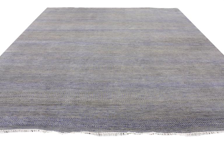 Indian New Contemporary Transitional Gray Area Rug with Modern International Style For Sale