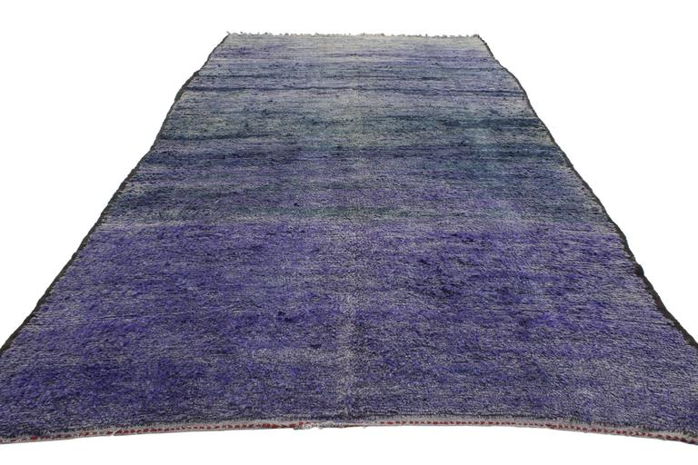 Post-Modern Vintage Berber Purple Moroccan Rug Inspired by Mark Rothko Chapel For Sale