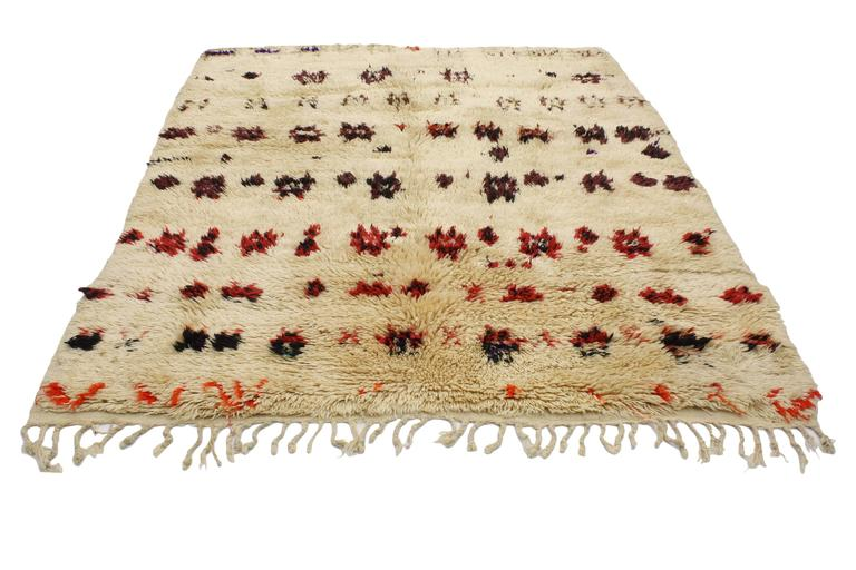 Vintage Beni Ourain Moroccan Rug with Mid-Century Modern Style 3