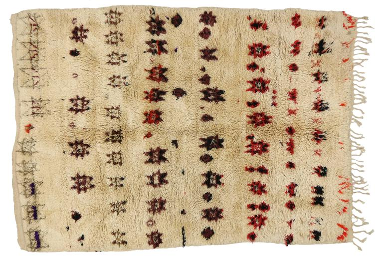 Vintage Beni Ourain Moroccan Rug with Mid-Century Modern Style 6
