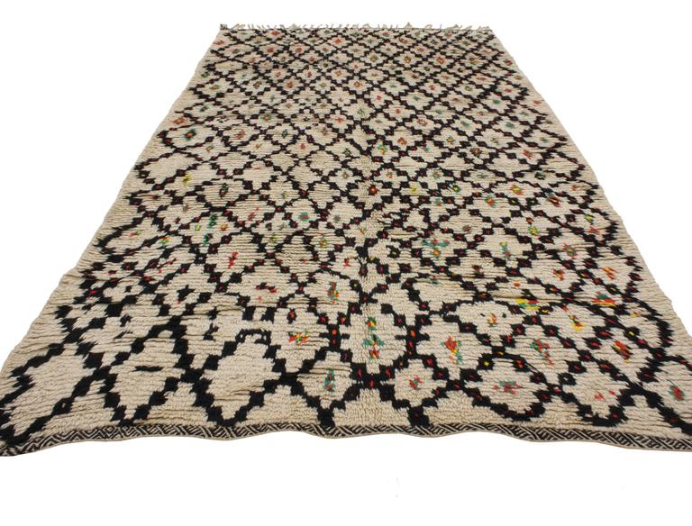 Hand-Knotted Vintage Berber Moroccan Rug with Modern Tribal Style, Azilal Rug For Sale