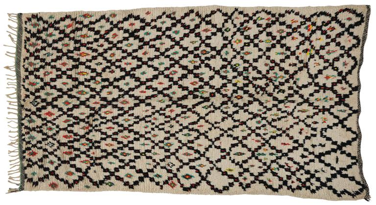 Wool Vintage Berber Moroccan Rug with Modern Tribal Style, Azilal Rug For Sale