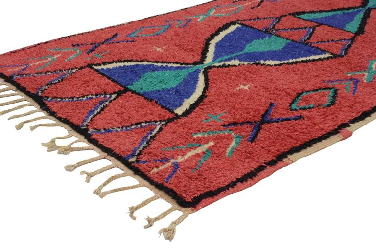 Hand-Knotted Vintage Berber Moroccan Rug with Modern Tribal Design For Sale
