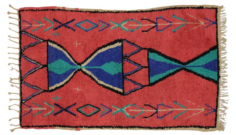 Wool Vintage Berber Moroccan Rug with Modern Tribal Design For Sale