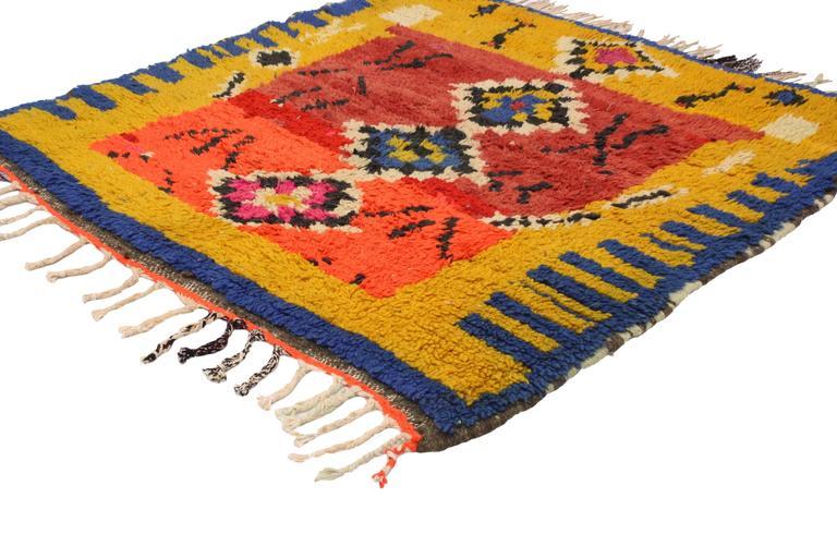 Vintage Berber Moroccan Rug with Tribal Design 2