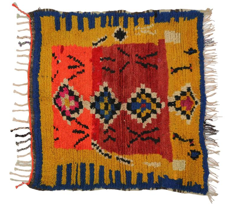 Vintage Berber Moroccan Rug with Tribal Design 4