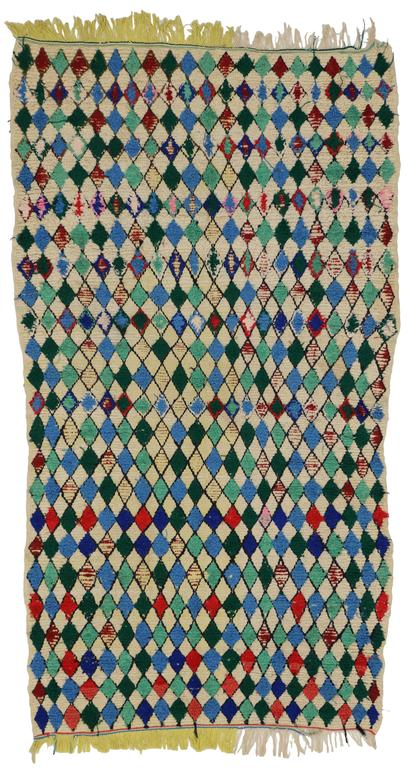 Vintage Berber Moroccan Azilal Rug With Diamond Lozenge Pattern For Sale At 1stdibs