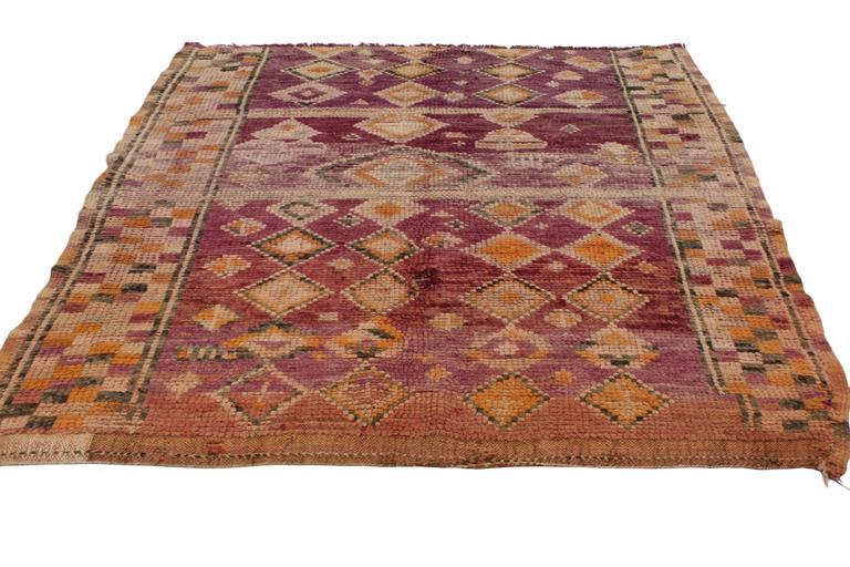 Vintage Berber Moroccan Rug with Tribal Design 3