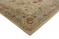 Modern Turkish Oushak Rug with Transitional Style, Square Rug