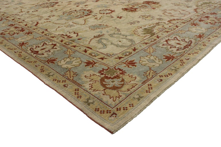 Modern Turkish Oushak Rug with Transitional Style, Square Rug For Sale