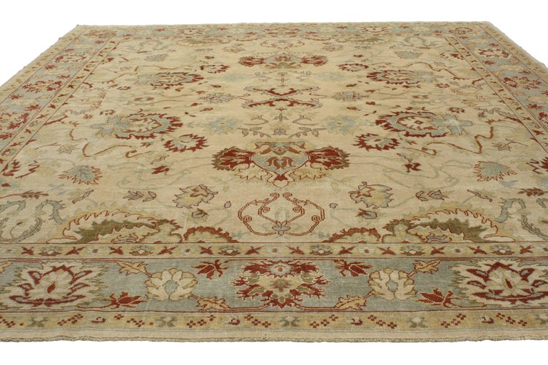 Hand-Knotted Modern Turkish Oushak Rug with Transitional Style, Square Rug For Sale