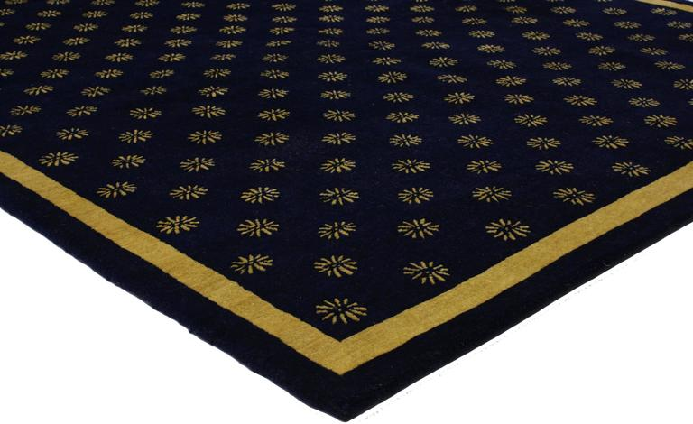 This Navy Blue And Gold Area Rug Features A Hollywood Regency Style Highlighting An All