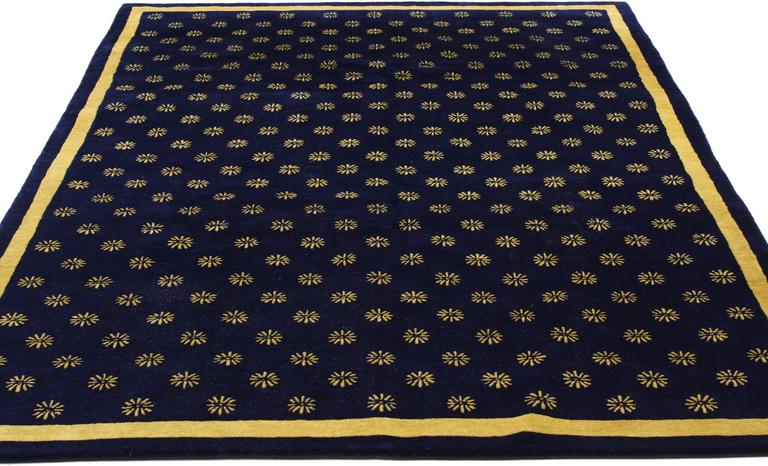 Navy Blue And Gold Area Rug With Hollywood Regency Style