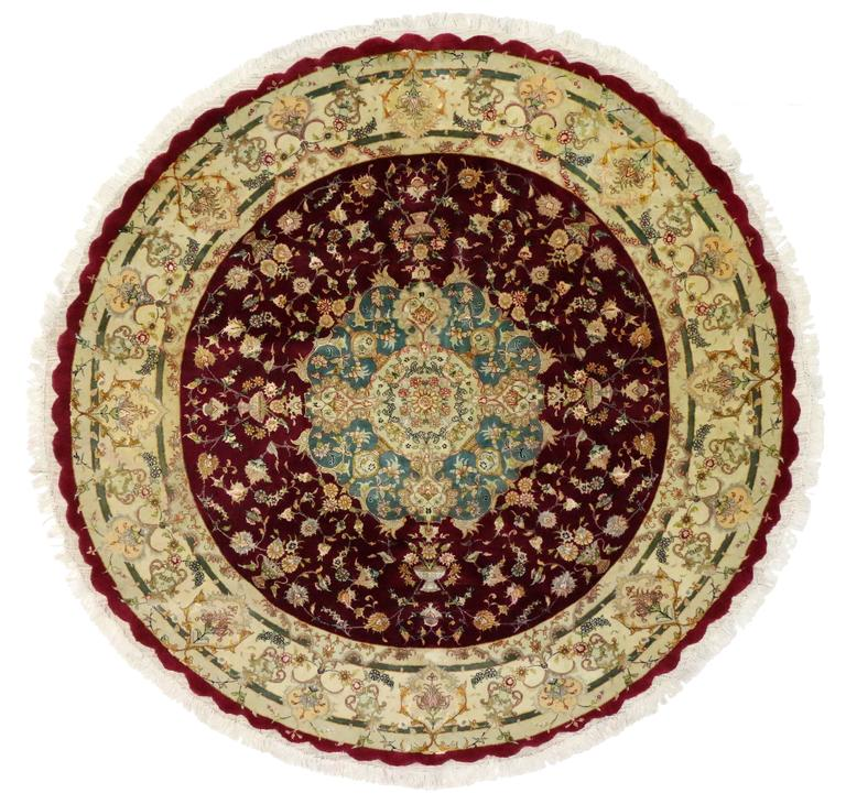 Persian Rugs For Sale: Round Vintage Tabriz Persian Rug With Traditional Style