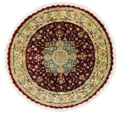 Round Vintage Tabriz Persian Rug with Traditional Style