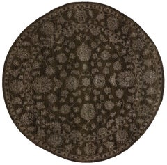 Round Brown Oushak Rug with Traditional Modern Style