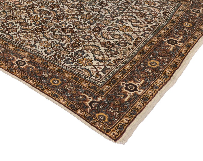 Modern Antique Persian Mahal Rug with Herati Pattern and Rustic Arts & Crafts Style For Sale