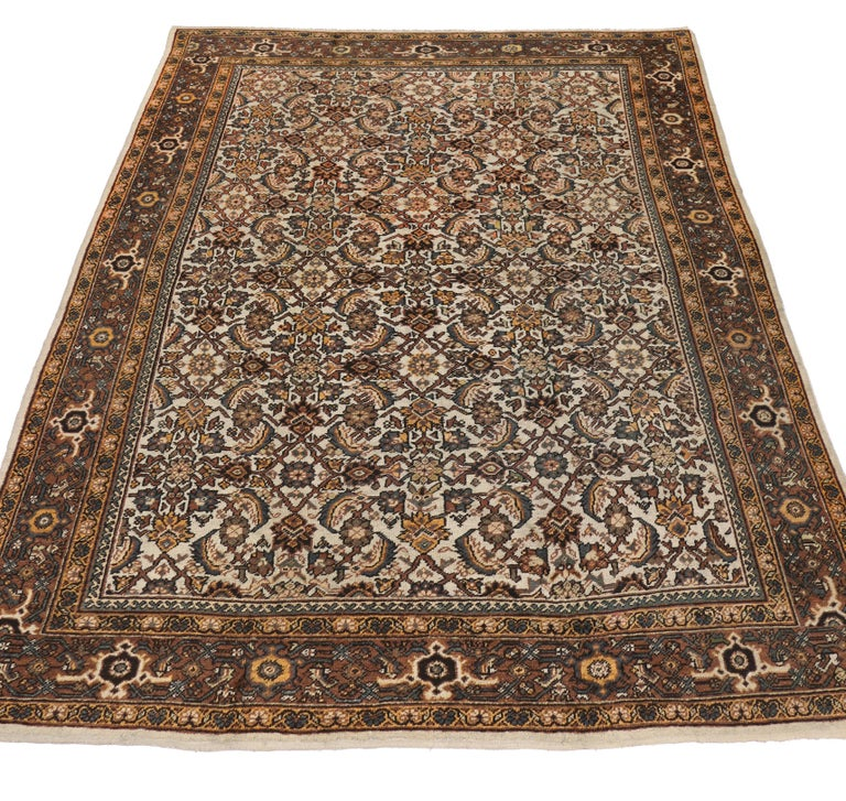 Hand-Knotted Antique Persian Mahal Rug with Herati Pattern and Rustic Arts & Crafts Style For Sale