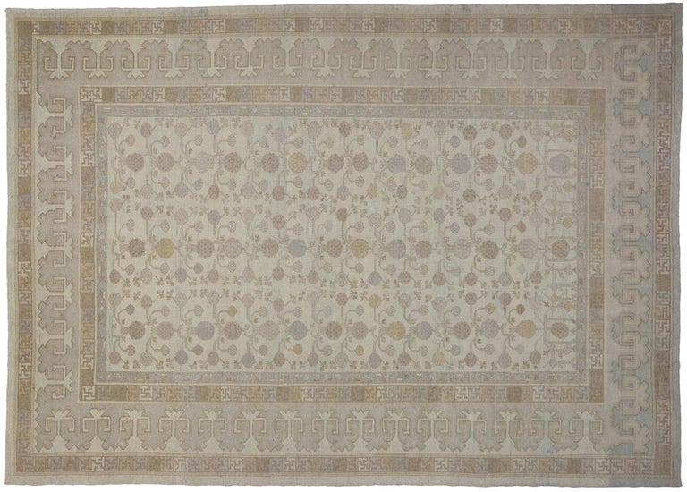 Contemporary Modern Khotan Style Rug with Transitional Style in Muted Colors For Sale