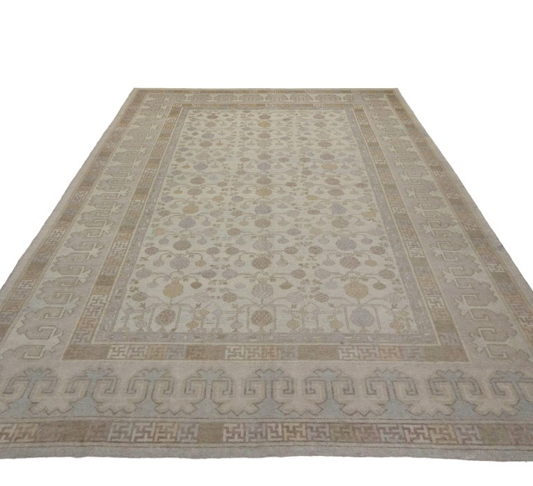 Turkish Modern Khotan Style Rug with Transitional Style in Muted Colors For Sale