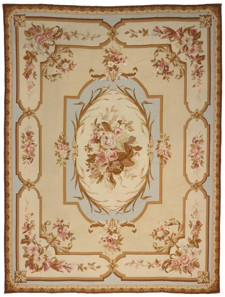 Vintage Chinese Needlepoint Rug With Aubusson Design And