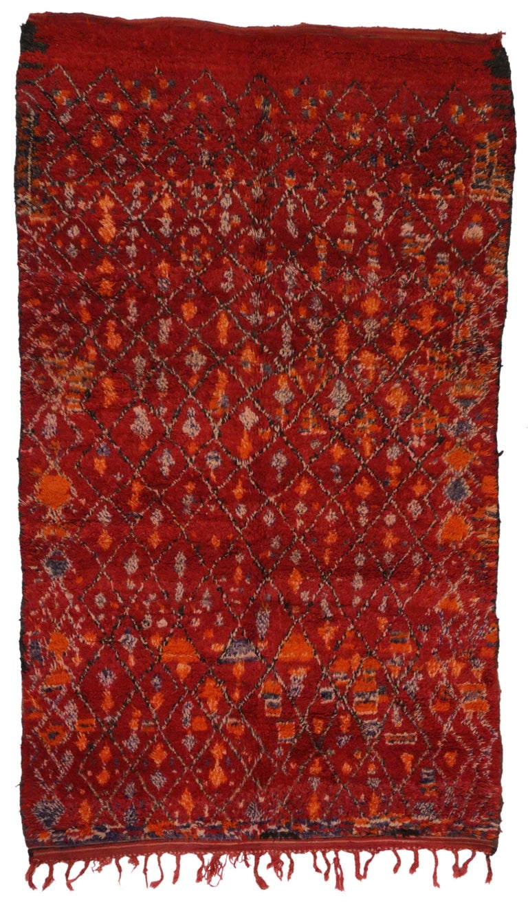 Vintage Berber Moroccan Rug With Modern Tribal Style Red