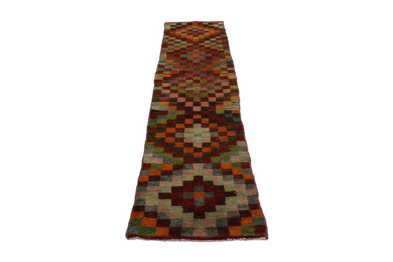 Vintage Turkish Oushak Runner With Checker Pattern And