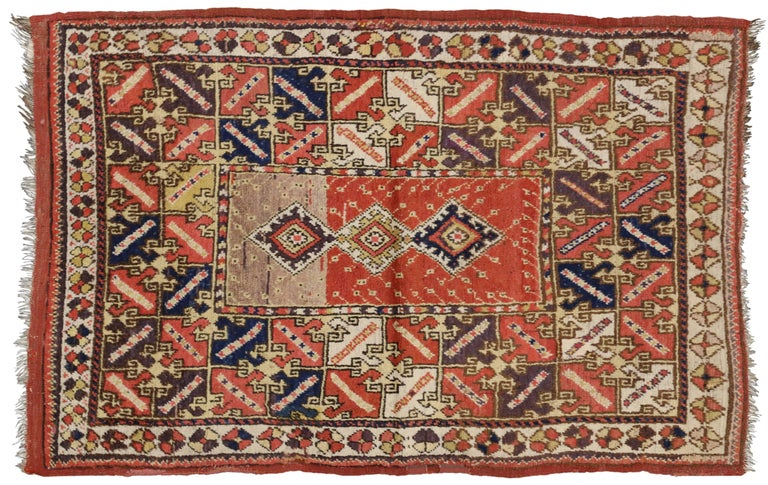 Modern Foyer Rugs : Antique turkish accent rug with modern tribal style