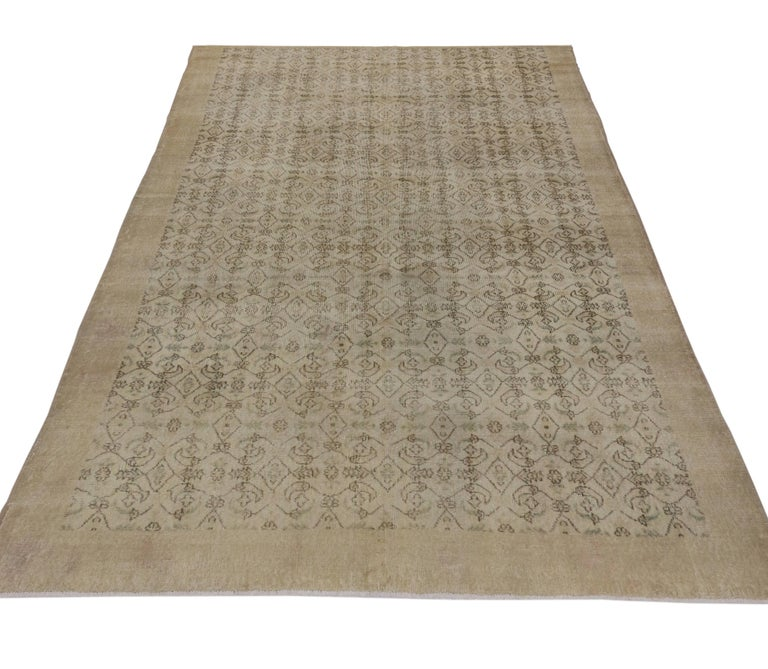 Wool Zeki Muren Distressed Vintage Turkish Sivas Rug with Shabby Chic Cottage Style For Sale
