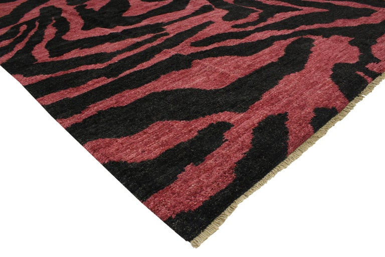 contemporary red pink and black zebra print rug moroccan style rug for sale at 1stdibs. Black Bedroom Furniture Sets. Home Design Ideas