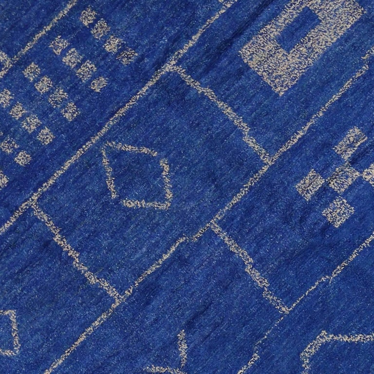 Contemporary Moroccan Style Area Rug In Cobalt Blue For