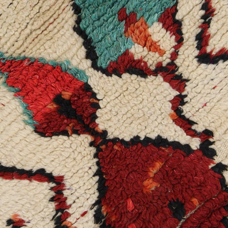 20th Century Vintage Berber Moroccan Azilal Rug with Modern Tribal Design For Sale