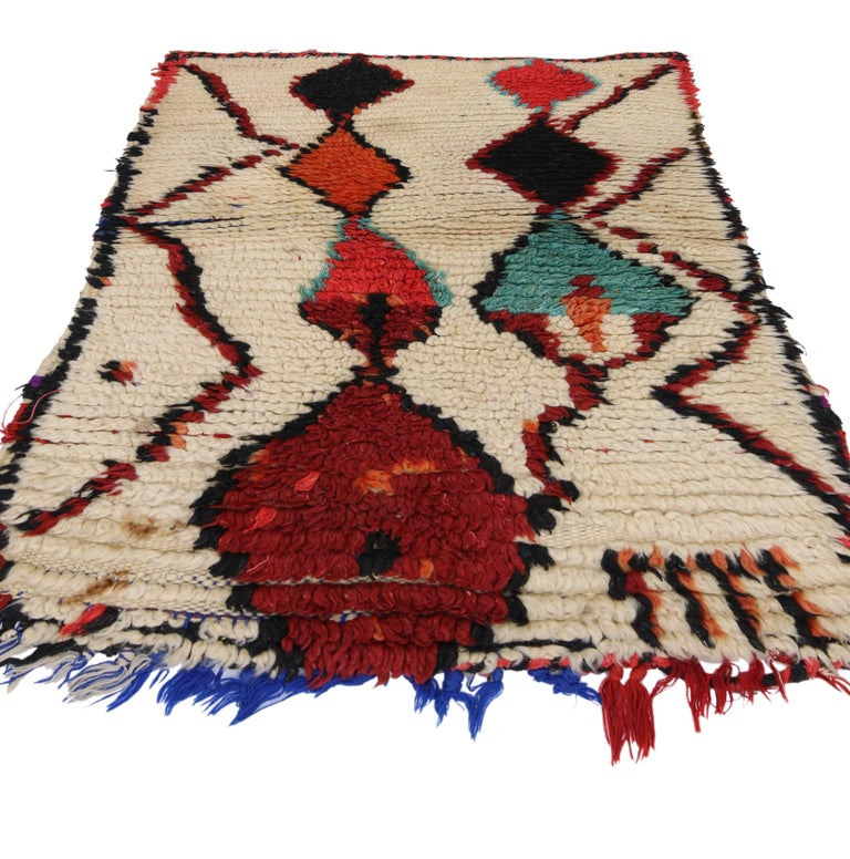 Hand-Knotted Vintage Berber Moroccan Azilal Rug with Modern Tribal Design For Sale