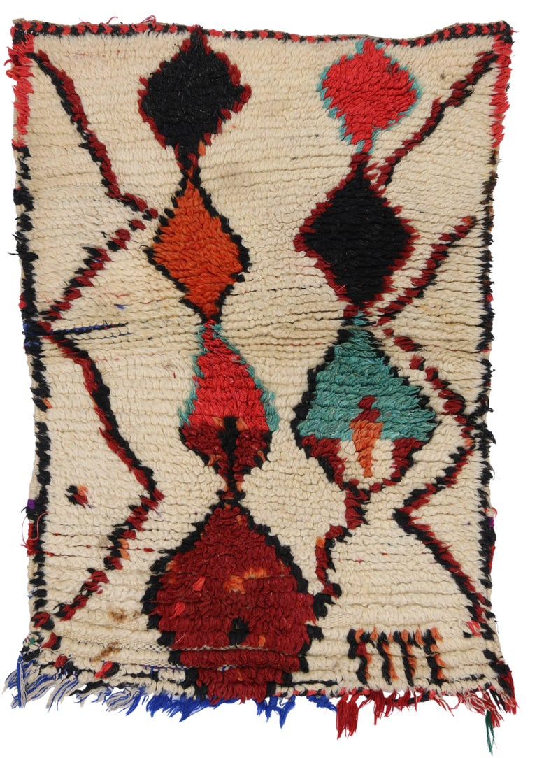 Wool Vintage Berber Moroccan Azilal Rug with Modern Tribal Design For Sale