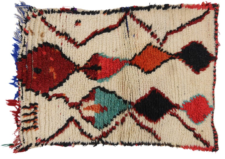 Vintage Berber Moroccan Azilal Rug with Modern Tribal Design For Sale 1