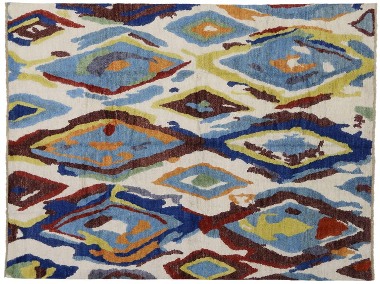 Modern Moroccan Rug With Contemporary Abstract Design For