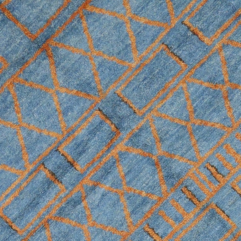 orange and blue moroccan style rug with modern design for sale at 1stdibs. Black Bedroom Furniture Sets. Home Design Ideas