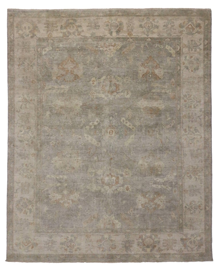 Modern Oushak Rug With Transitional Style In Earth Tone