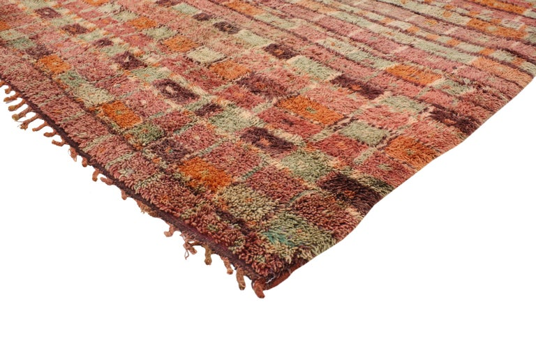 20366 Vintage Berber Moroccan Boujad Rug with Post-Modern Cubism Style. This bold, yet delicate color palette provokes and challenges the traditional dogma of harmony and balance. The all-over pattern of horizontal bands and dashed bars across the