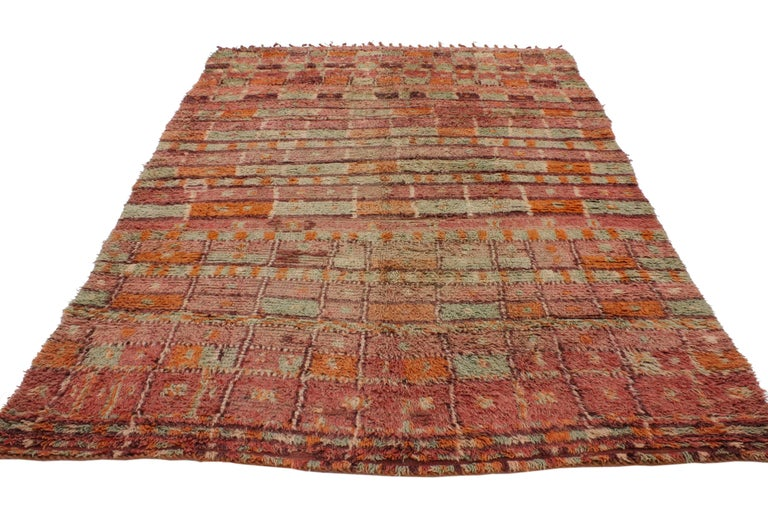 Bohemian Vintage Berber Moroccan Boujad Rug with Post-Modern Cubism Style For Sale