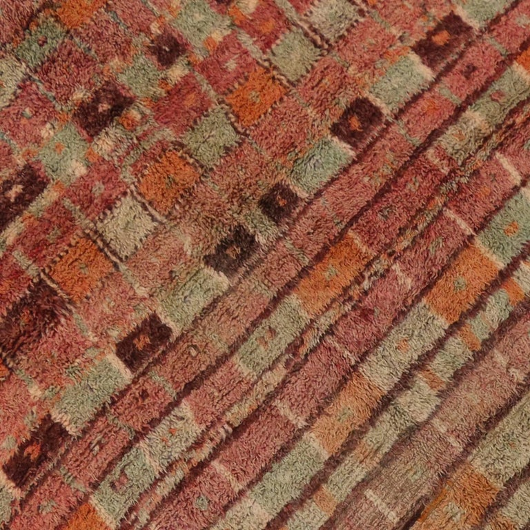 Hand-Knotted Vintage Berber Moroccan Boujad Rug with Post-Modern Cubism Style For Sale