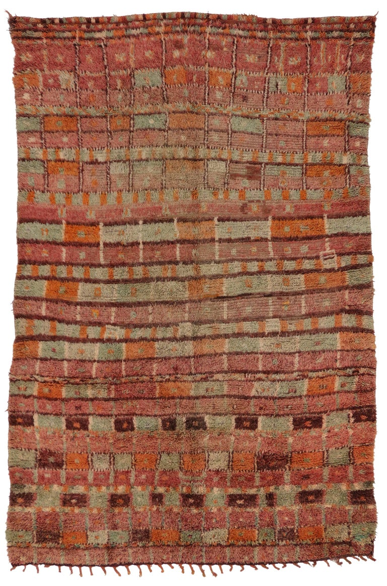 20th Century Vintage Berber Moroccan Boujad Rug with Post-Modern Cubism Style For Sale