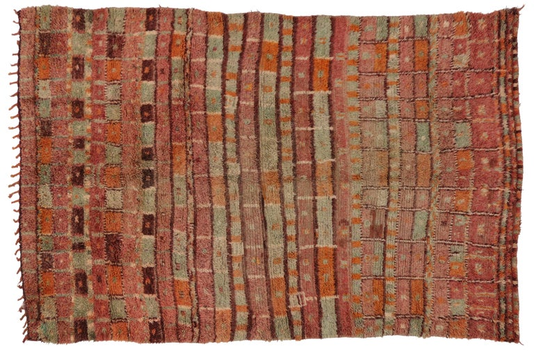 Wool Vintage Berber Moroccan Boujad Rug with Post-Modern Cubism Style For Sale