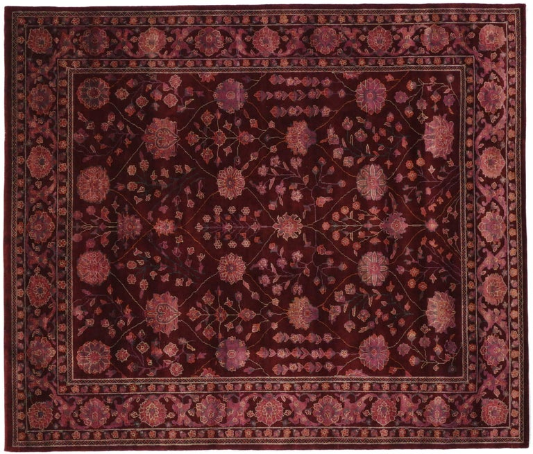 Modern burgundy wine rug with transitional style for sale for Home inspired by india rug