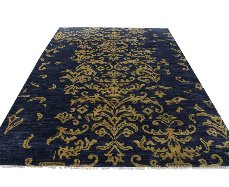 Indian Navy Blue And Gold Area Rug With Hollywood Regency Style For