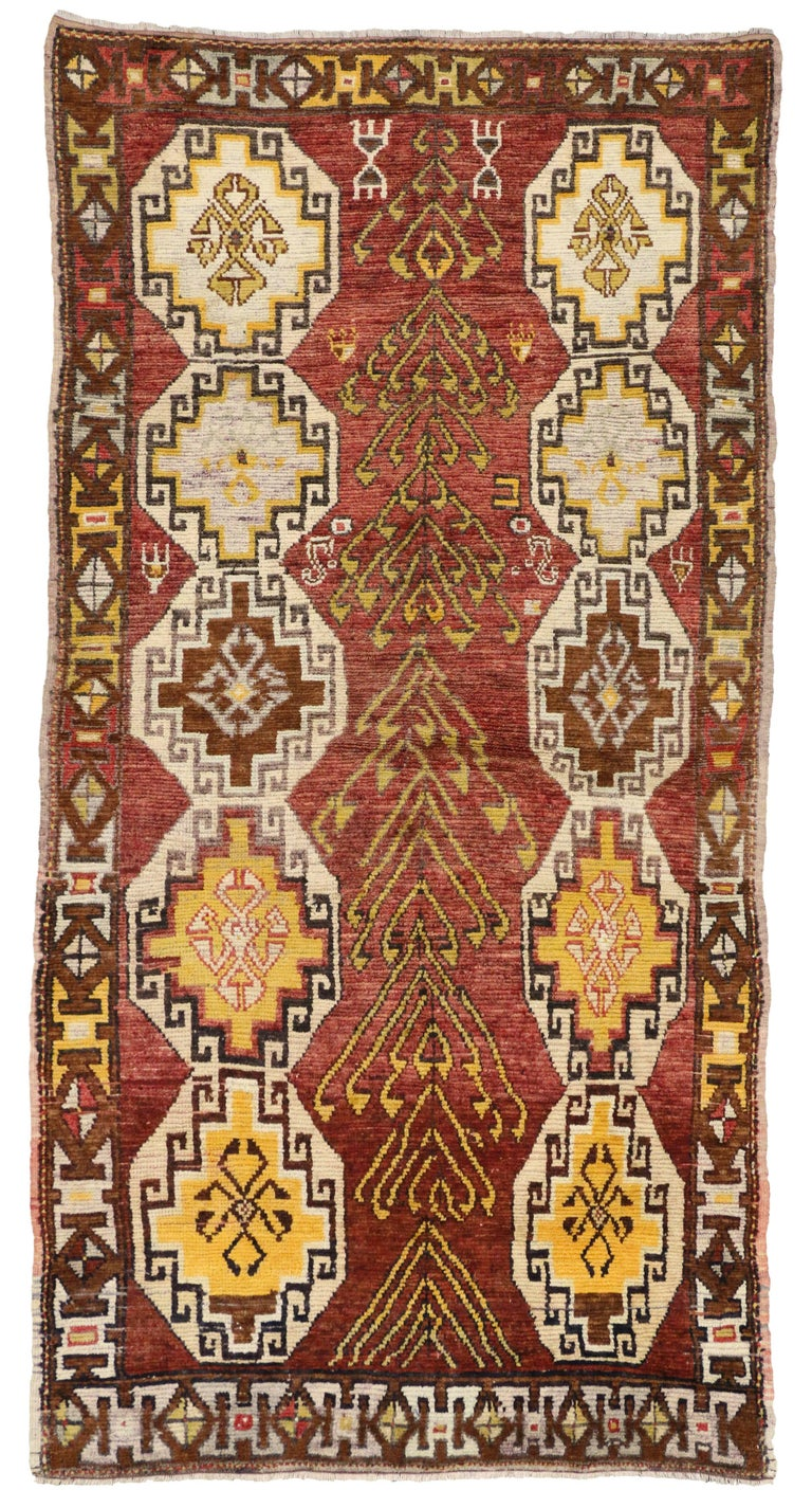 Vintage Turkish Oushak Runner with Modern Tribal Style, Gallery Rug 8