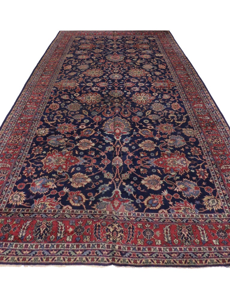 Modern Rugs Vintage: Antique Turkish Blue Sparta Gallery Rug With Modern