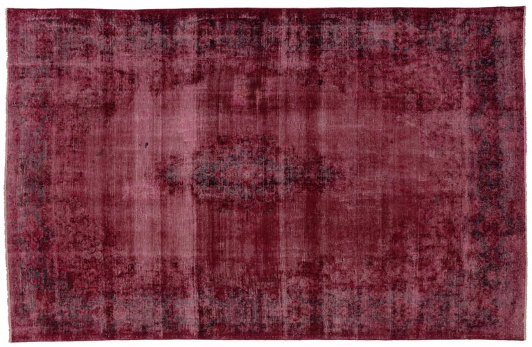 Distressed And Overdyed Vintage Persian Burgundy Rug With