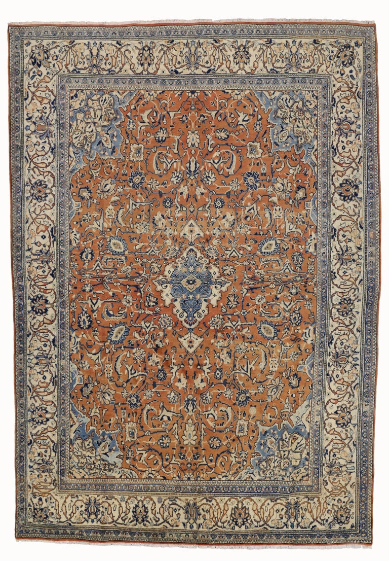 orange and blue vintage persian mahal rug for sale at 1stdibs. Black Bedroom Furniture Sets. Home Design Ideas