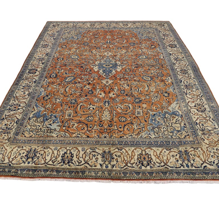 Orange And Blue Vintage Persian Mahal Rug For Sale At 1stdibs